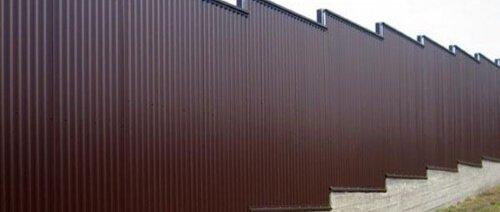 Профнастил НС-10 на забор 8017 шоколад